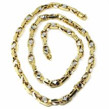 """18K YELLOW WHITE GOLD CHAIN, BIG OVAL CABLE SQUARED ALTERNATE LINK 7mm, 24"""" image 5"""