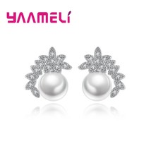 Free Shipping Fashion Crystal and Pearl Stud Earrings For Women 925 Ster... - $7.93