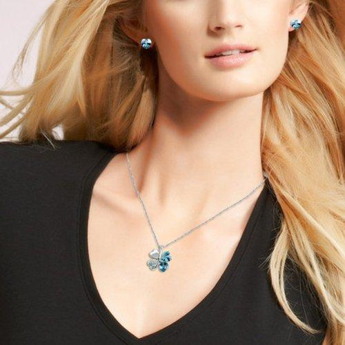 SHIP BY USPS: Jewelry Set Clover Pendant Necklace+Stud Earring Heart Shaped SWAR