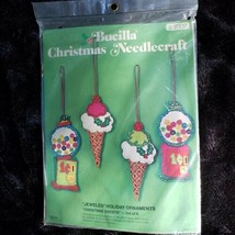 Bucilla Christmas Sweets 4 Jeweled Holiday Ornaments Felt Kit #2337 SEALED - $49.53