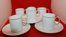 Thomas Germany White Platinum Silver Band Rim Coffee Tea 6 Mug Cup 5 Sau... - $75.86