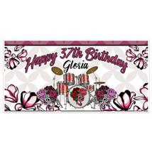 Drums Two Skulls Birthday Banner Party Decoration Backdrop - $22.28+