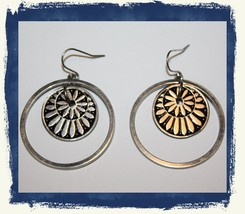 VTG 80s Silver Tone Concentric Circles Dangle/Drop Loop Pierced Earrings - $7.99