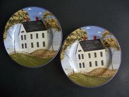 2 -Sakura - Warren Kimble Home Sweet Home Folk Art Stoneware Salad  Plates - $11.87