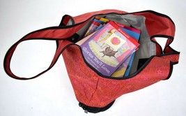 American Doll Carrier Tote Red Black City Names Purse 5 books Address - $29.59