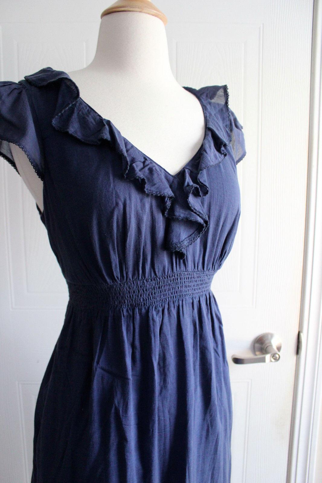 Anthropologie Maeve Navy Blue Ruffle Short Cap Sleeves Dress Sz 4