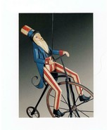 FDC POSTCARD-UNCLE SAM ON BICYCLE -OLD GLORY FOLK ART-2003  ARTCRAFT CAC... - $1.96
