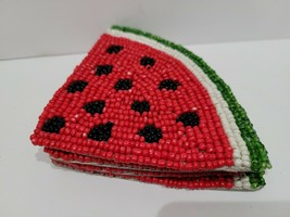 Summer Spring Watermelon Beaded Drink Coasters Set of 4 - $21.77