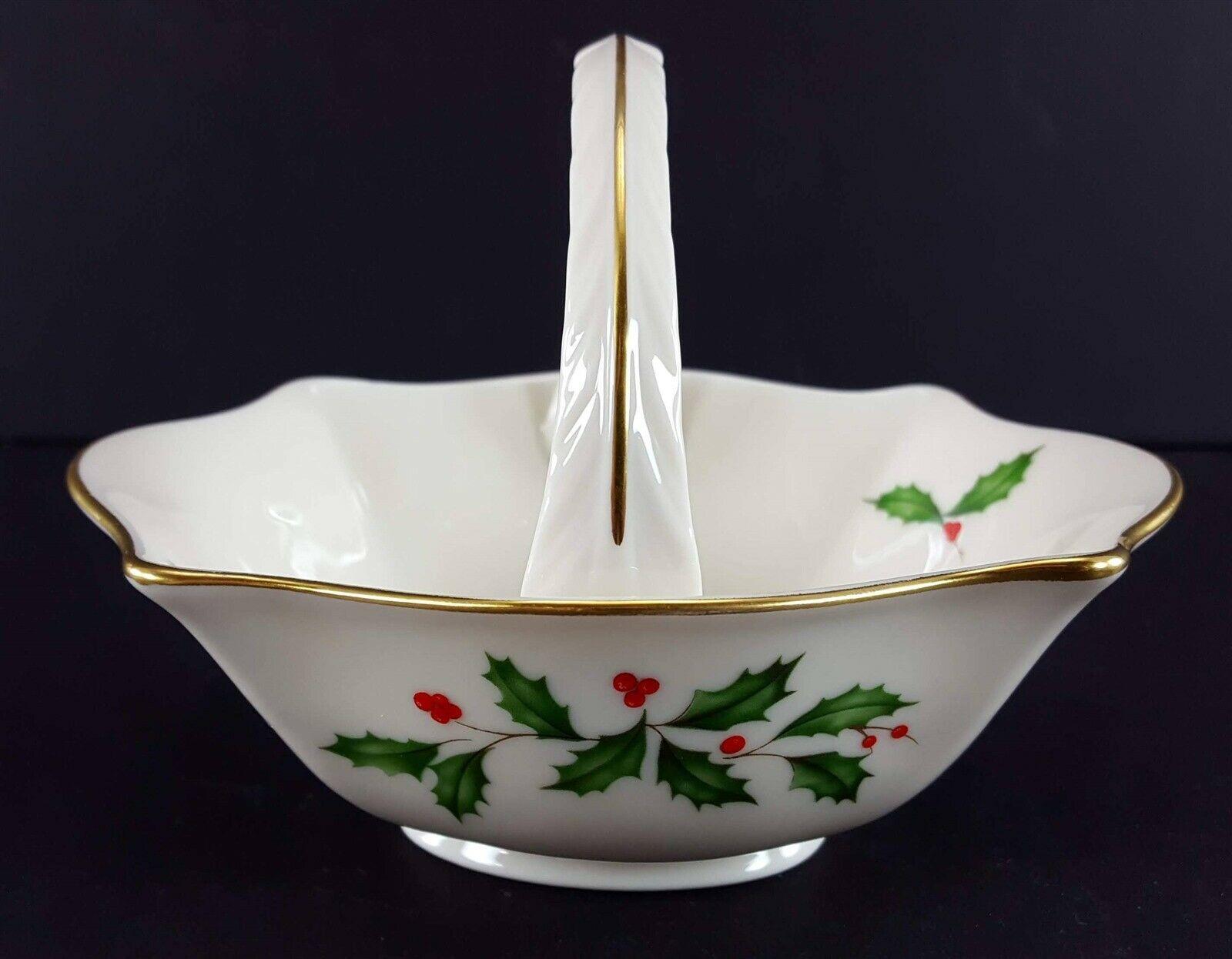 "LENOX China Holiday Dimension Small Basket 4-1/2"" Across Dinnerware"
