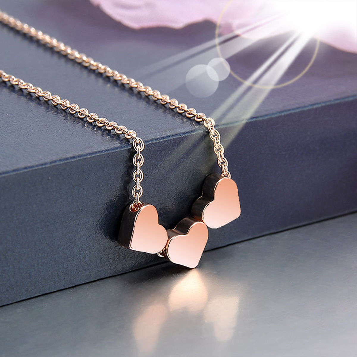 Fashion New Stainless Steel Women Jewelry Three Heart Charms Pendant Necklace - $10.99