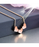 Fashion New Stainless Steel Women Jewelry Three Heart Charms Pendant Nec... - $10.99