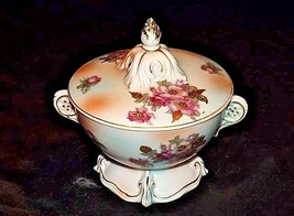 Footed Floral Bowl with Lid AA18-1353 Vintage 7343E