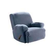 Sure Fit Stretch Pinstripe 1-Piece  - Recliner Slipcover  - French Blue ... - $80.05