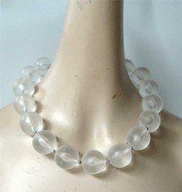 Vintage Frosted Lucite Bubble Bead Necklace Chunk Collar Round Statement... - $28.70