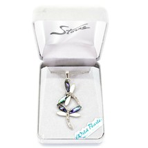 Storrs Wild Pearle Abalone Shell Kitten Cat Pendant w Silver Tone Necklace image 1