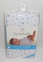 Swaddle Me Legs Free Kicksie Swaddling Blanket Summer Infant White Blue ... - $17.58