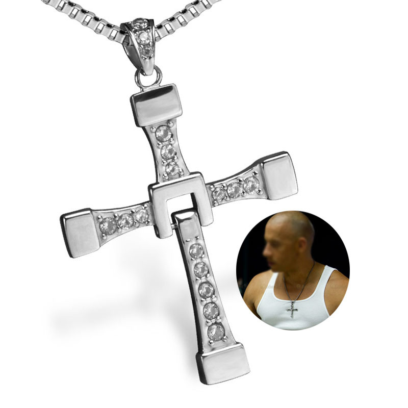 The Fast and The Furious Vin Diesel Titanium Steel Jesus Cross Pendant Necklace image 2