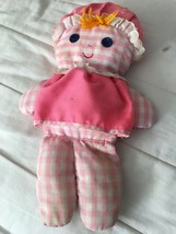 VINTAGE 1975 FISHER PRICE LOLLY RATTLE DOLL #420 PINK GINGHAM PLUSH CRIB... - $28.04