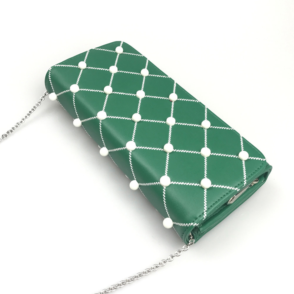Charles & Keith Embellished Quilted Wallet Chain Clutch Small Shoulder Bag Green