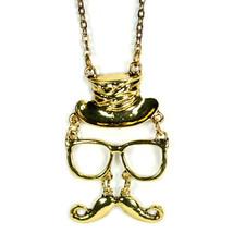 Schnurrbart Brillen & Zylinderhut Charms Kette Schmuck Neu Anhänger Halskette - $6.87