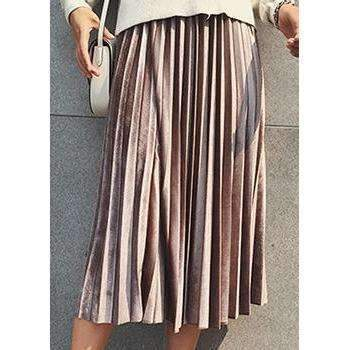 of happiness sports safety skirts champagne chic pleated velvet women midi skirts 1388055199775