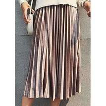 Chic Pleated Velvet Women Midi Skirts - $21.22