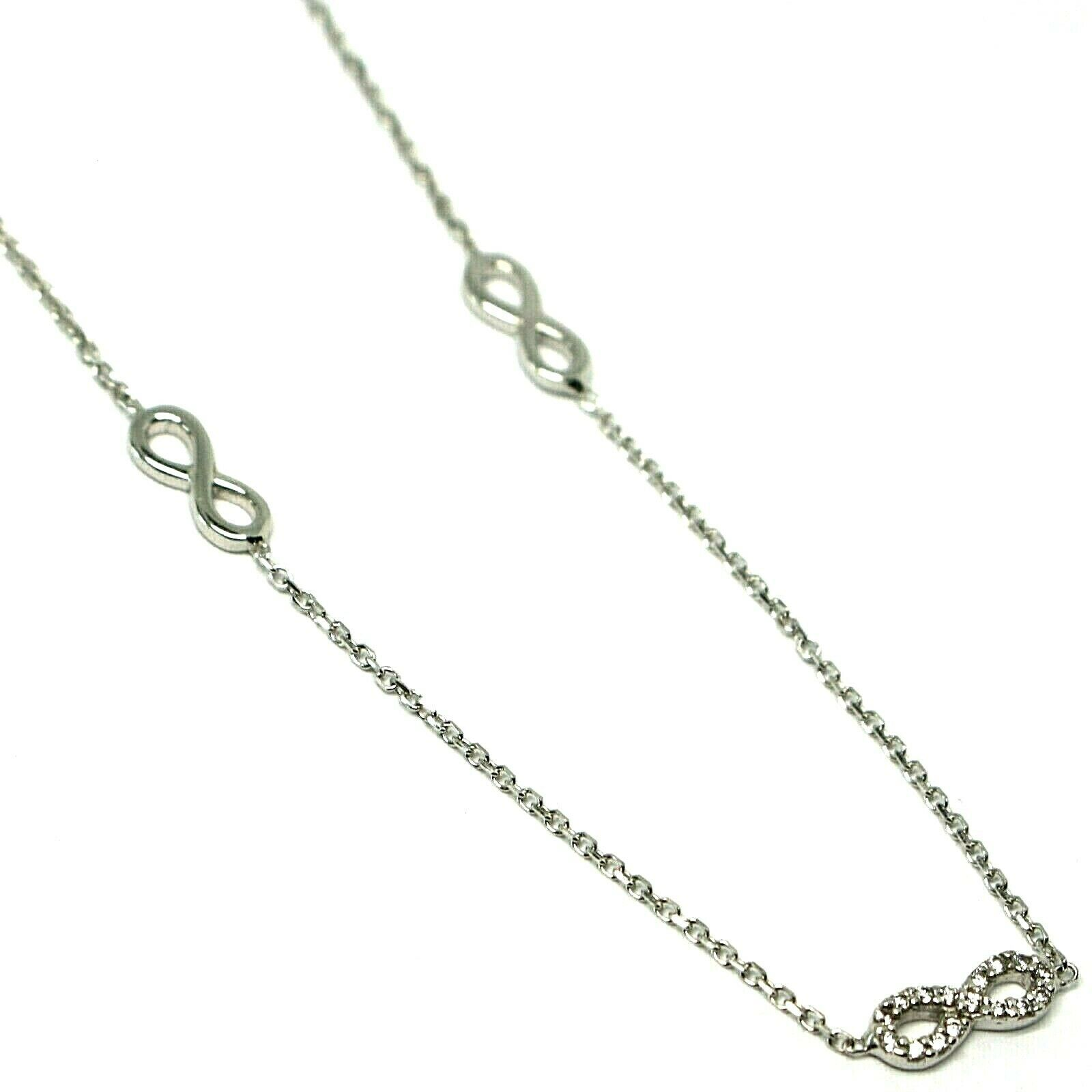 Necklace White Gold 18k 750, Chain Rolo ' , Symbols Infinity, Zircon Cubic image 2