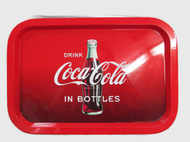 Coca-Cola Red and Black Ombre Tin Tray Drink Coca-Cola in Bottles - $5.94