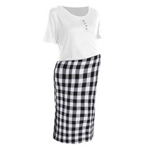 Maternity Dress Checkered Patchwork O Neck Short Sleeve Dress image 3