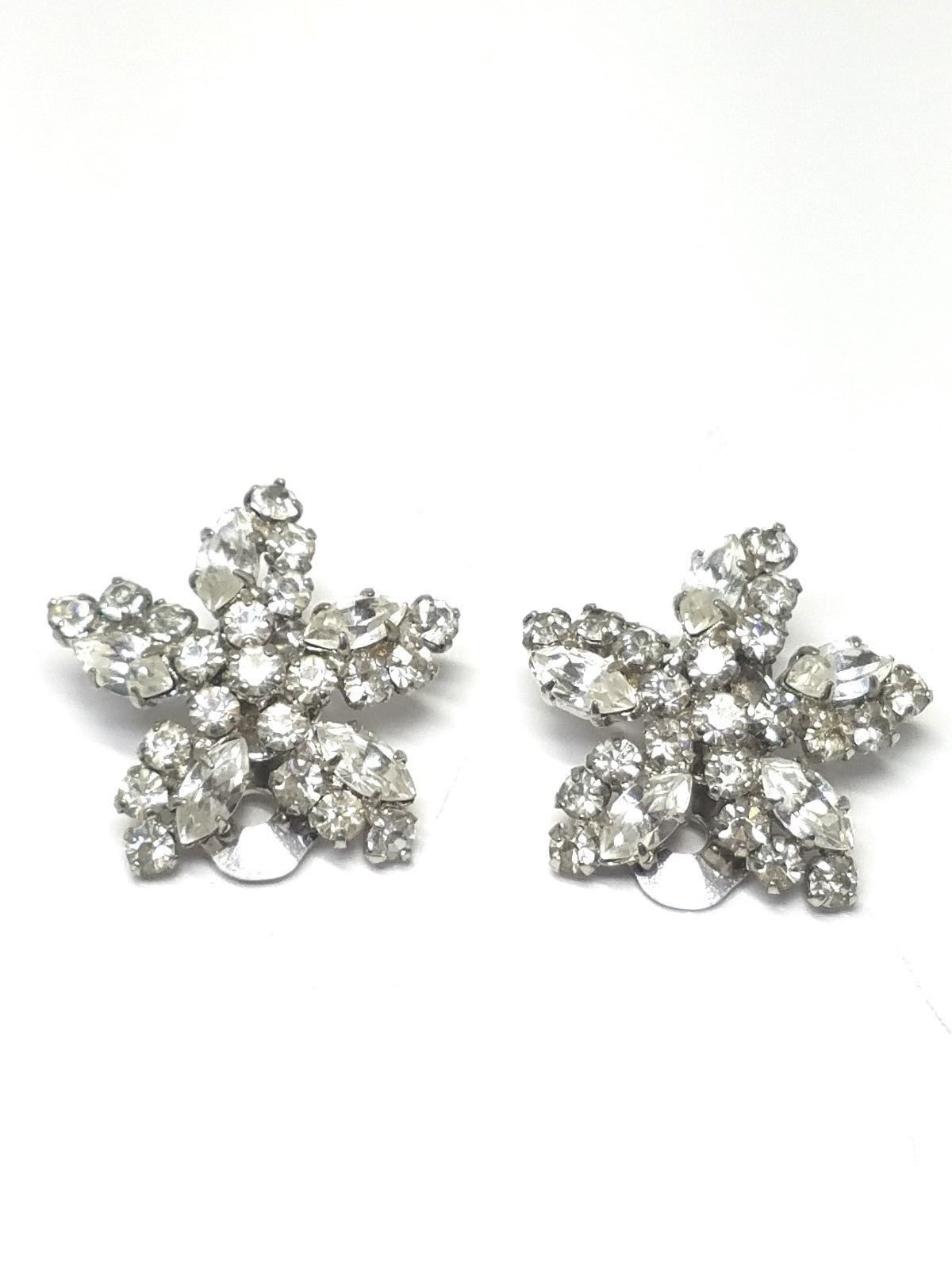 Austria Rhinestone Star Shaped Earrings Vintage Clip On Gorgeous