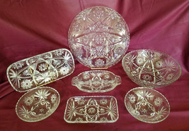 Vintage Anchor Hocking Prescut Clear 7 piece serving set (circa 1960s) - $45.00