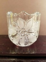 MIKASA CRYSTAL Festive POINSETTIA CHRISTMAS Votive Etched Crystal New w/Tag - $12.85
