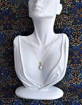 Necklace Milk Glass Carved Scarab Pendant Gold Filled Chain 1970s Egypti... - $30.00