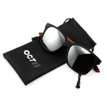 Bamboo sunglasses wooden Classic Eyewear Vintage Square Retro Black F - $24.54