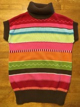 Gymboree Girl's Multi Color Striped Short Sleeve Turtleneck Sweater Medium 7/8 - $14.03