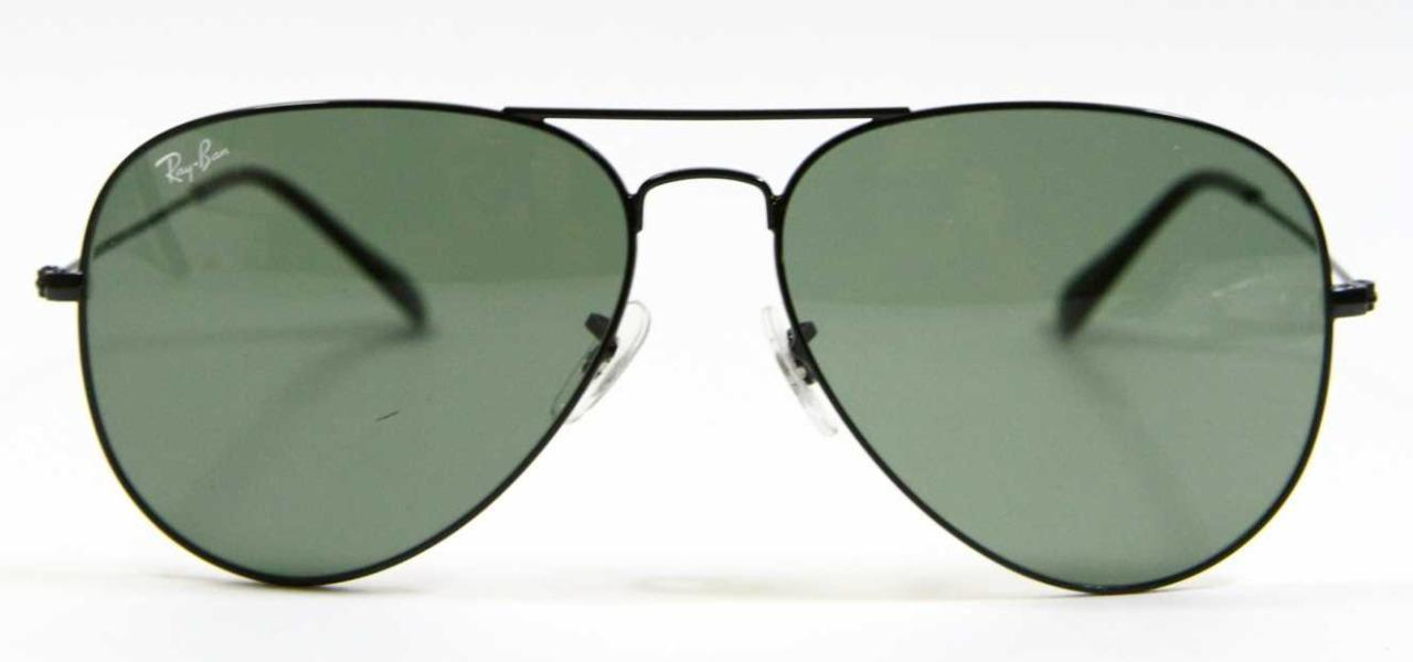 Primary image for Ray Ban 3026 L2821 Aviator Black Large Sunglasses G-15 Lens 62mm New Authentic