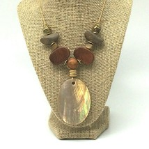 """BoHo~Large Abalone Medallion Necklace with Wood and Brass~13.25"""" Drop - $23.74"""