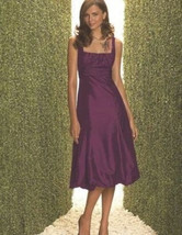 Dessy 2060....Cocktail length, Taffeta Dress....Blackberry.....Sz 4 L - $49.49