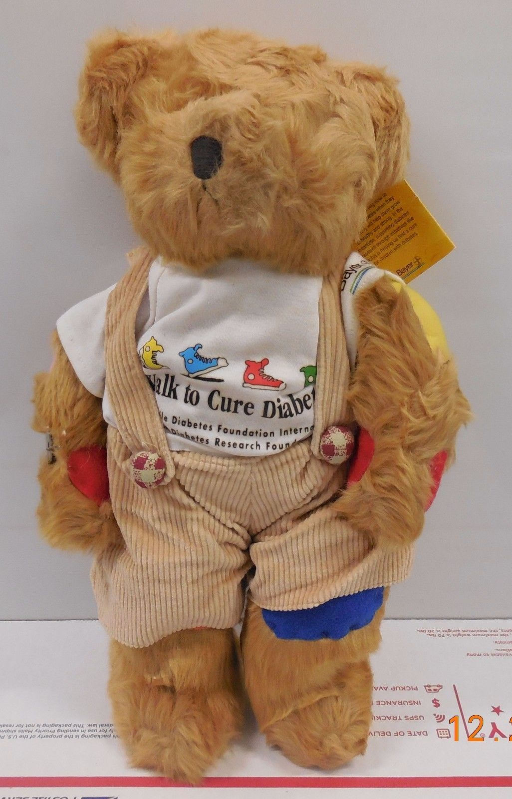 "Primary image for Russ Berrie Rufus the Bear with Diabetes 12"" Plush JDRF with Tags and Bracelet"