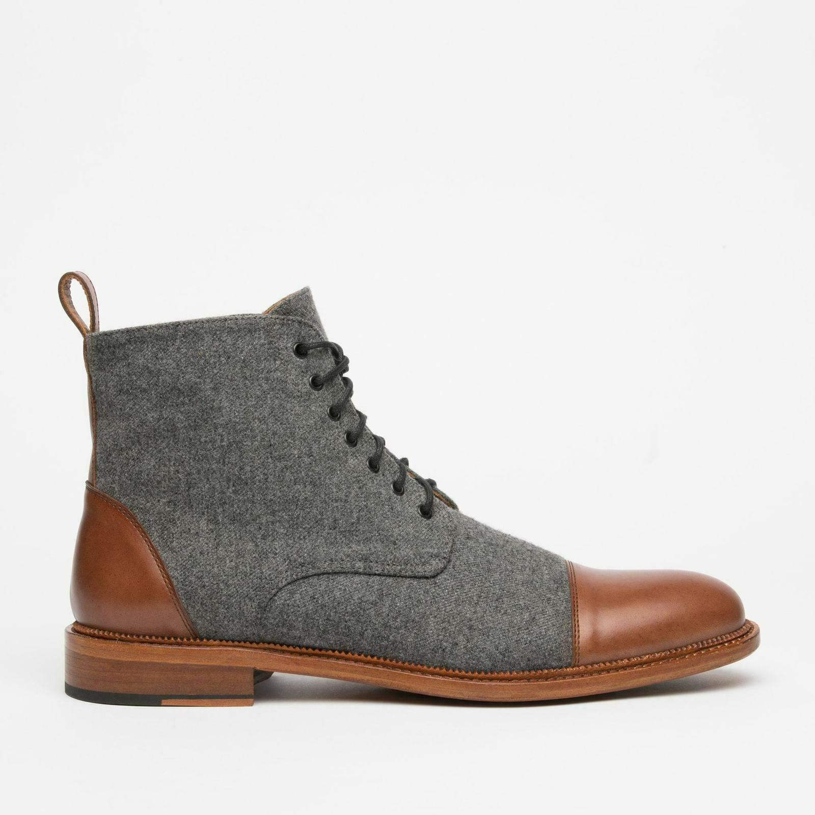 Tweed Brown Tone Cap Toe Genuine Vintage High Ankle Leather Lace Up Men Boots image 2