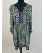 Umgee women boho peasant gypsy dress tunic 3/4 sleeves knee length - £16.84 GBP