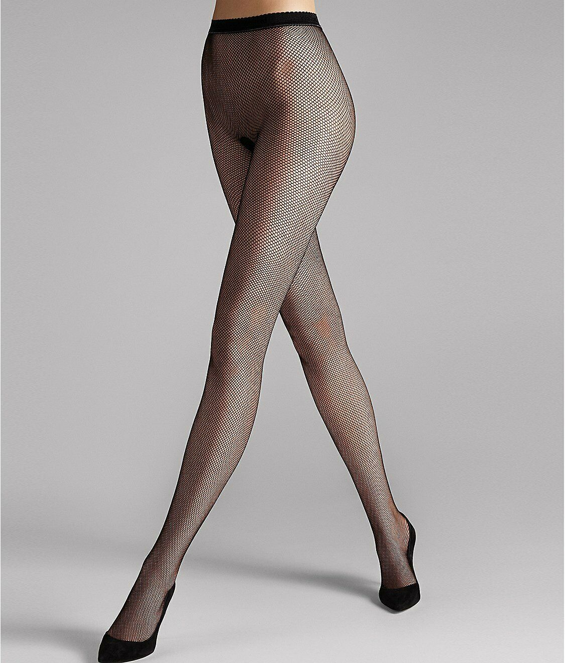 Wolford BLACK Twenties Fishnet Tights, US Medium