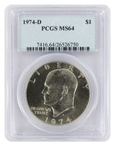 1974-D Certified Eisenhower Dollar PCGS MS64 IKE Dollar - £15.81 GBP