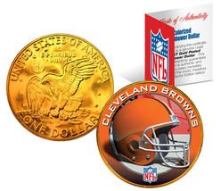 CLEVELAND BROWNS  NFL 24K Gold Plated IKE Dollar US Coin * NFL LICENSED * - $9.85