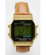 Timex Watch Men Chro Alarm Light Date 24h Gold Stainless Leather Brown W... - $28.66
