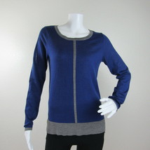 Ann Taylor Womens Pullover Sweater Size S Blue Gray Cotton Wool Long Sleeves - $12.19