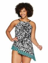 Coastal Blue Women'S Control Swimwear Asymmetrical Hem Tankini Top - $36.99+