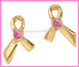 Breast Cancer Pink Hope Stud Earring Pack fo Four Goldtone Earrings 2018 image 9