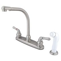 Magellan Centerset Kitchen Faucet,White Side Sprayer,Satin Nickel - $64.82