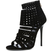 "STUNNING NEW JIMMY CHOO BLACK PERFORATED SUEDE ""MALIKA"" CAGED SANDALS   - $497.50"